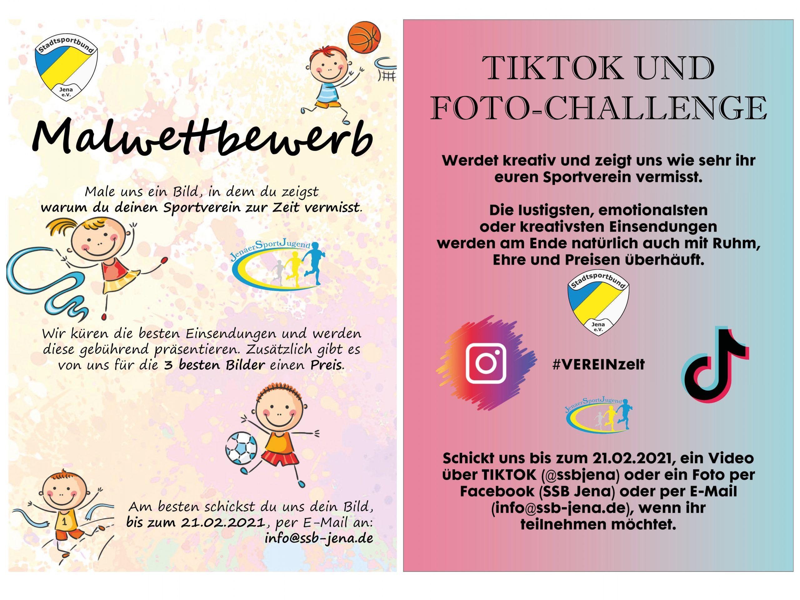 Malwettbewerb und TIKTOK/Foto-Challenge